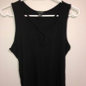 Black Tank Top With Cut Out Design